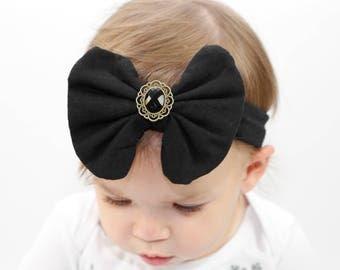Black Headband/Baby Headband/Baby Headbands and Bow/Infant Headband/Baby Girl Headband/Girl Headband /Toddler Headband/Photo Prop Baby