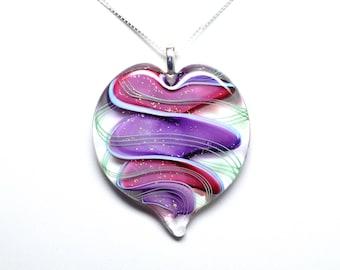 Ribbon Stardust Lampworked Art Glass Heart Pendant, Ruby, Purple, with light Green Stripes