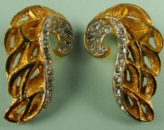 Vintage BSK Gold and Rhinestone Clip Earrings