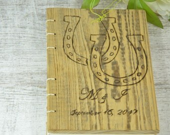 WEDDING GUEST BOOK Wood  Rustic Horseshoe Lucky