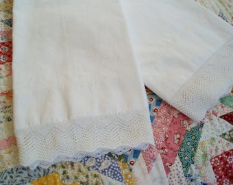 Vintage Hand Knitted Lace Edged Pillowcases Vintage Lace Edged Pillowslips