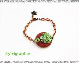 Aluminum wire and Red Stone bracelet