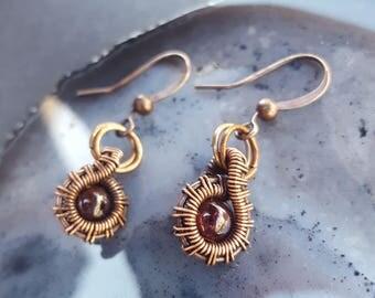 January Birthstone Earrings, January Birthstone Jewelry, Garnet Earrings, Red Garnet Jewelry, Wire Wrapped Earrings, Wire Wrapped Jewelry