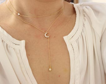 Moon and Star necklace set, moon necklace, layered necklace, Lariat Necklace, Long Necklace, Y Necklace, Delicate Necklace, dainty necklace.