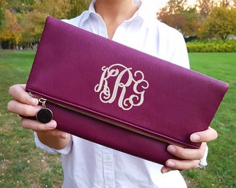 Monogrammed Clutch Purse | Envelope Clutch Purse | Bridesmaid Gift | Mother's Day Gift | Gift for Her| Personalized Handbag | Monogram Purse