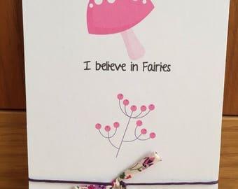 Wish string bracelet toadstool charm I believe in fairies Friendship Bracelet