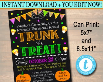 EDITABLE Trunk or Treat Flyer/Invitation Printable Halloween Invitation, Community Halloween Event, Kids Halloween, Halloween Party Invite