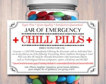 Chill Pills Label, Funny Nurse Gag Gift Professional Office Christmas Gift, Birthday Gift, Teacher, Boss Gift, Cowork Gift Printable Label