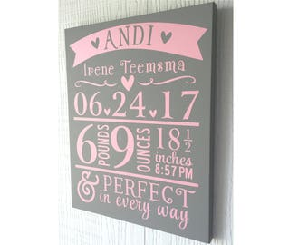 Baby Stat Sign, Baby Boy, Baby Girl, Baby Announcement, Shabby Chic, Subway Art, Baby Gift, Nursery Decor, Baby Decor, Child's Name Sign
