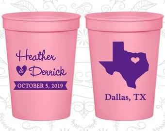Texas Wedding Cups, Texas Wedding, Custom Stadium Cups, Destination Wedding, State Cups, logo cups (142)