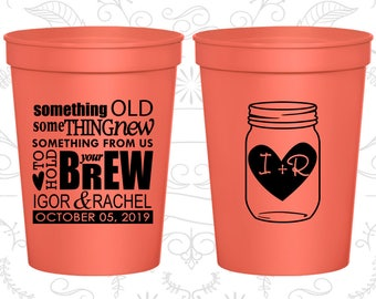 Personalized Stadium Cups (C01) Monogram - Wedding Cups - Wedding Favors - Custom Plastic Cups - Monogram Cups