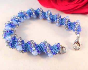 Chunky Bracelet, Chic Beaded Jewelry with Swarovski Crystal, Waves Bracelet, Blue Beadwork Jewelry for Special Event, Gift for Mother