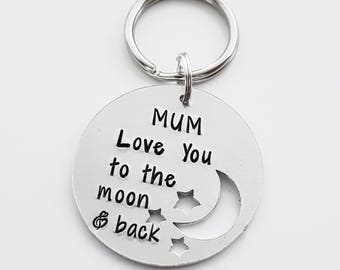 Mum love you to the moon & back handstamped keyring unique gift for him/her wording can be changed just add a note at checkout