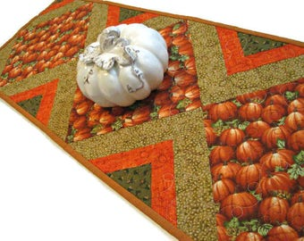 "Autumn Quilted Table Runner, Pumpkin Quilted Table Mat, Harvest Table Runner, 13""x39"", Quiltsy Handmade"
