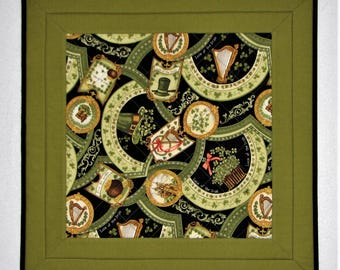 """Quilted Table Topper, St. Patrick's Day Table Mat, Luck of the Irish Table Topper, Green and Black Table Mat, 20""""x20"""", Quiltsy Handmade"""