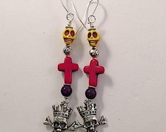 CIJ Sugar Skull Cross Crown Beaded Earrings, Gift for Her, Dangle, Drop Earrings, Bohemian, Mardi Gras, Day of the Dead, Halloween