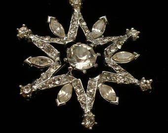 Rhinestone Star Starburst Pin Vintage
