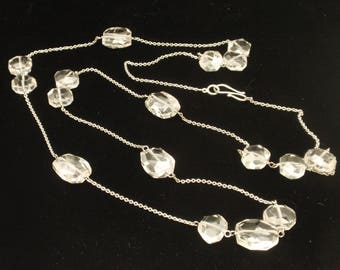 """40"""" Necklace with Chunky Glass Beads Sterling Silver"""