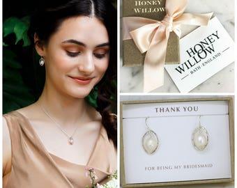 Silver pearl earrings, oval pearl earrings bridesmaid, bridesmaid earrings pearl - Ophelia