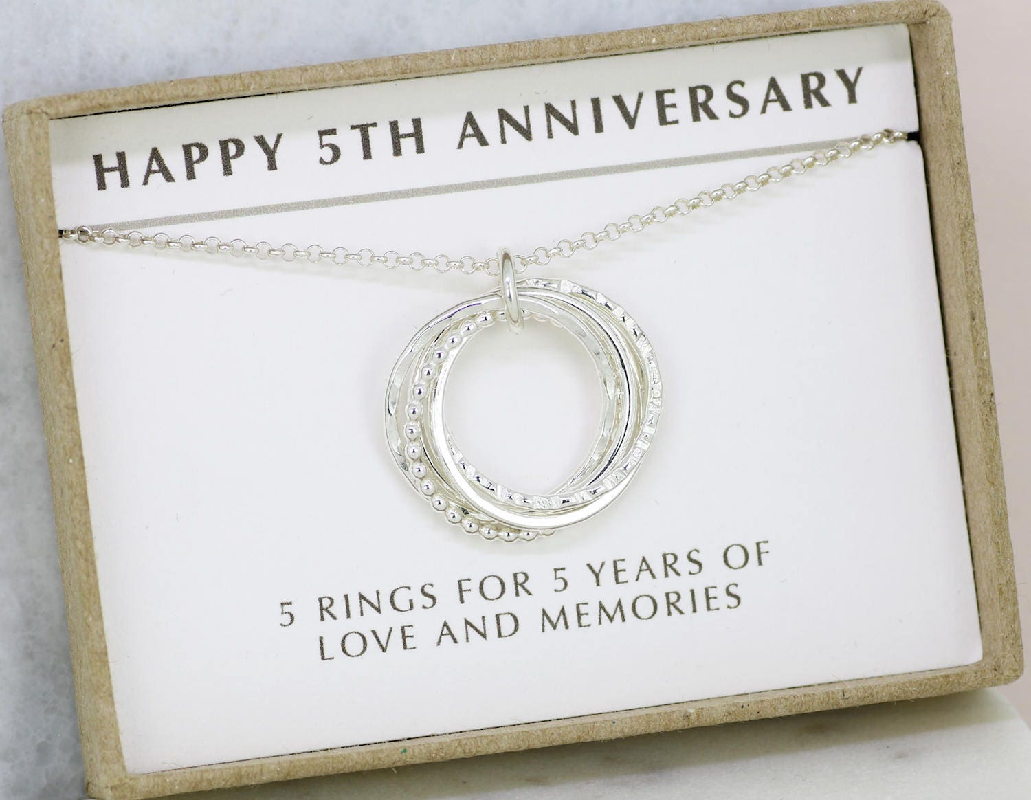 5th Wedding Anniversary Traditional Gifts: 5th Anniversary Gift 5 Year Anniversary Necklace Gift For