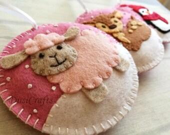 PRE ORDER / Felt Christmas ornaments, Baby girl Christmas decoration, Pink ornaments, Baby deer, Lamb, Penguin, Xmas ornaments - set of 3