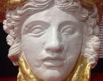 Medusa Sculpture gold guilted