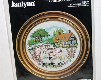 "Janlynn ""Bless This House"" counted cross stitch kit 138-02 New sealed Vintage 1992"