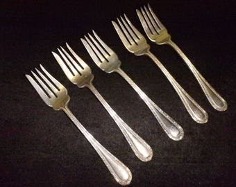 empire  silverplate gorham 1906  Individual Salad Fork monogrammed set of 5