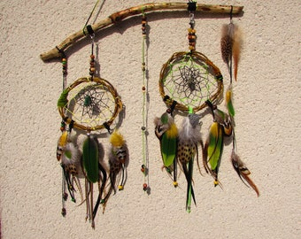 Dream catcher double dreams, wood, willow, pyrite, method, sari, Parrot feathers