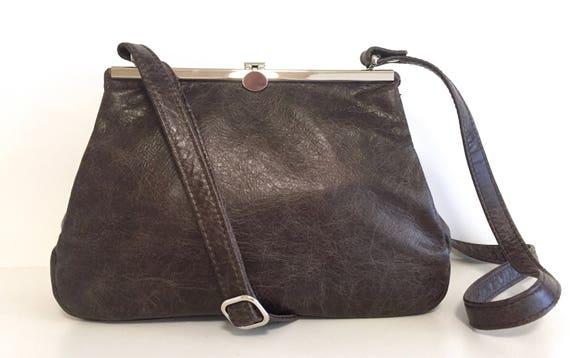 Brown leather bag , leather handbag , handbag  brown leather shoulder bag , bag with strap , handbag with snap
