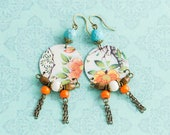 Floral Tin Earrings with Chain Tassels and Turquoise and Orange Beads, Tassel Earrings, Unique Boho Jewelry
