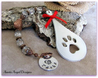 Stamped Paw Print Teardrop Memorial Ornament, Pet Sympathy Dog Ornament, Pet Sympathy Cat Ornament, Custom Pet Ornament, Pet Loss Gift