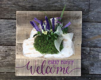 Every Bunny Welcome Spring Pallet Sign 15 x 15""