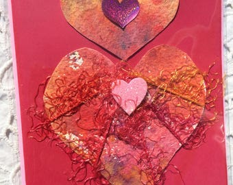 HEART  WATERCOLOR Heart Greeting CARD, Blank Inside, Colorful Contrasting Envelope, EmbellishedTextiles, Ephemera