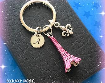 Eiffel Tower keyring - Personalised Paris keychain - Eiffel Tower gift - Pink Eiffel Tower keychain - Paris gift - Stocking filler - Etsy UK