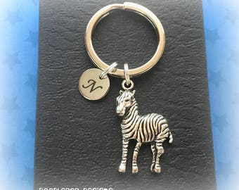 Personalised zebra keychain - Zebra charm keyring - Safari gift - Zebra keyring - Initial keychain - Zebra gift - Secret Santa - UK seller