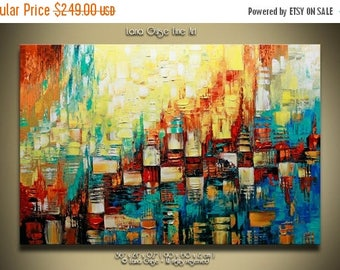 SALE Tempo Original Abstract Landscape Painting Contemporary Modern Textured Palette Knife by Lana Guise