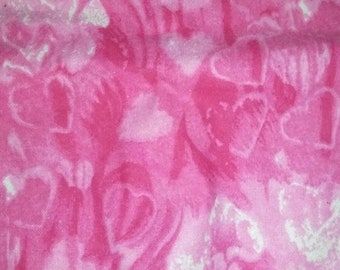Pink Heart Flannel Fabric