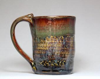 stoneware pottery coffee mug, 10oz, hand thrown pottery mug