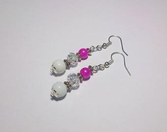 Romantic earrings, glass beads ~ ~ white & fuchsia ~ ~