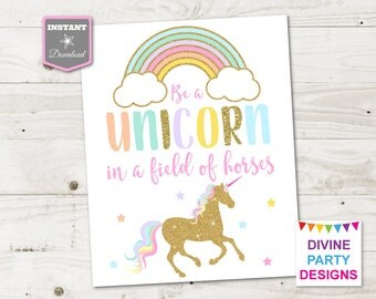 Wild image for be a unicorn in a field of horses free printable