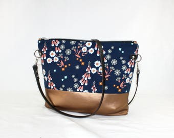 Flower copper Crossdiv bag with leather handles