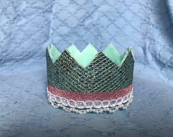 Children's Crown--Teal w/ purple and pearl trim