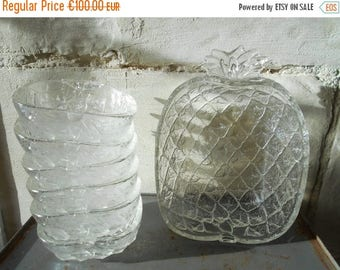 10 % SALE Rare Pineapple fruit salad set, serving bowl and 6 individual bowls, French 70's glass fruit bowls.