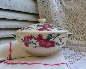 Antique french red and blue stencilware soup tureen. Red blue stencilware tureen. Covered serving dish. Covered bowl. French country kitchen