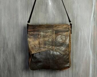 SALE Recycled Leather Bag / Fold Over Shoulder Bag / Cross Body Bag / Eco Bag / Jacket-To-Bag / Upcycled Leather Bag / Patchwork Bag