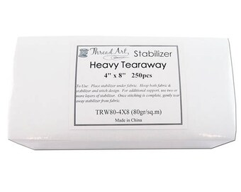 Heavy Tearaway Embroidery Backing Stabilizer - 4x8 250 precut sheets