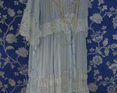 Stunning Recycled Vintage White Cotton Crochet Blue Cotton Gypsy Peasant Dress