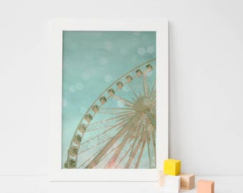 Nursery Art, Kids Wall Art, Carnival Photography, Ferris Wheel, Baby Blue, Pink, Bokeh, Instant Digital Download, Printable Art - July