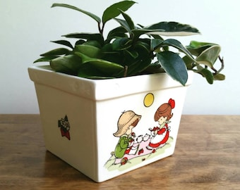 Vintage Joan Walsh Anglund Ceramic Strawberry Planter Bowl, Made in Japan, Flower Pot